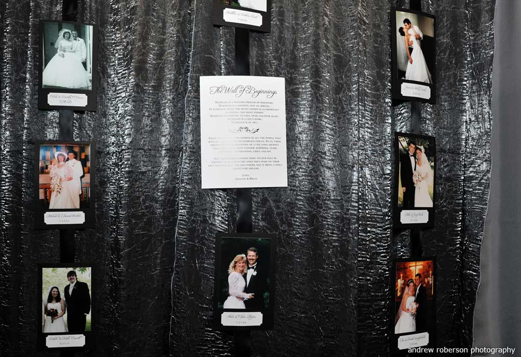wall of wedding guest marriage photos