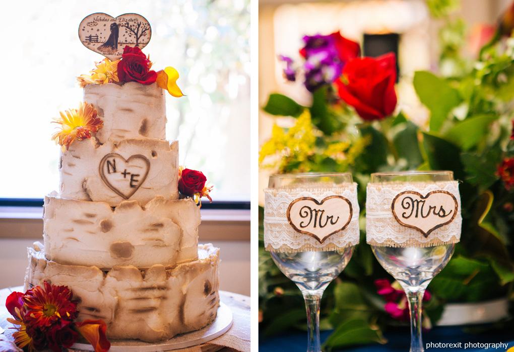 woodlike wedding cake