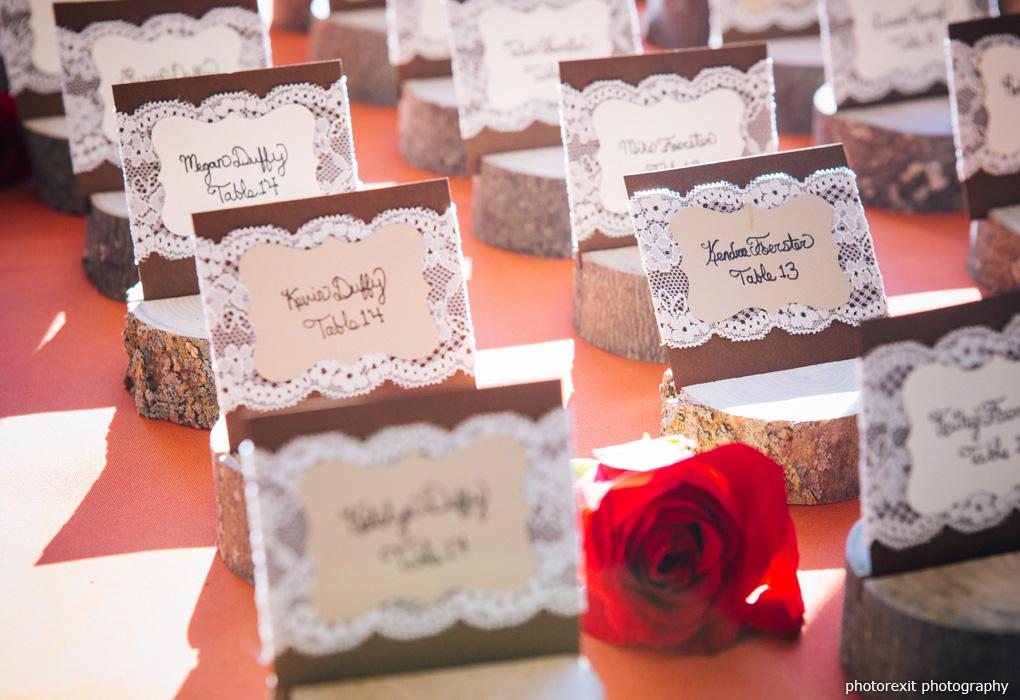 lace birchwood wedding escort cards