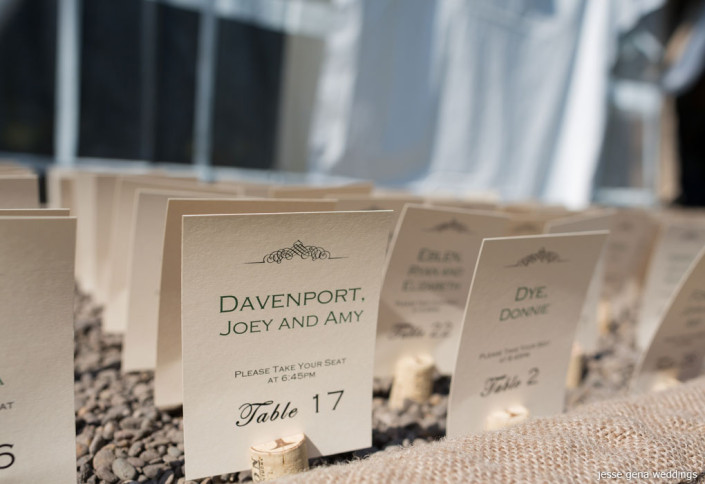 escort cards in wine corks