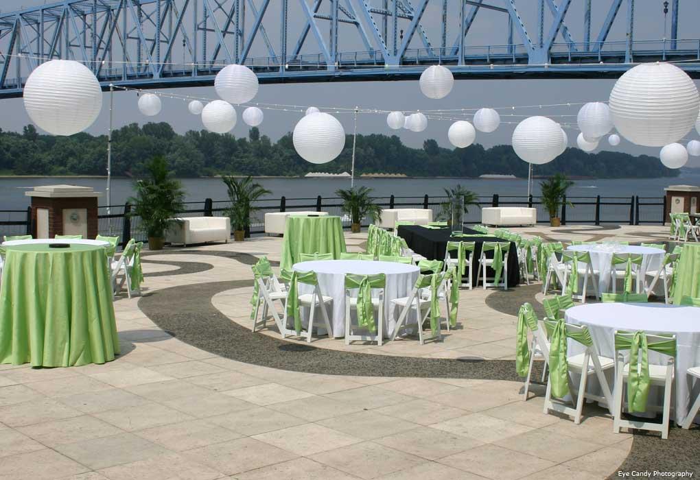 outdoor riverpark center wedding reception