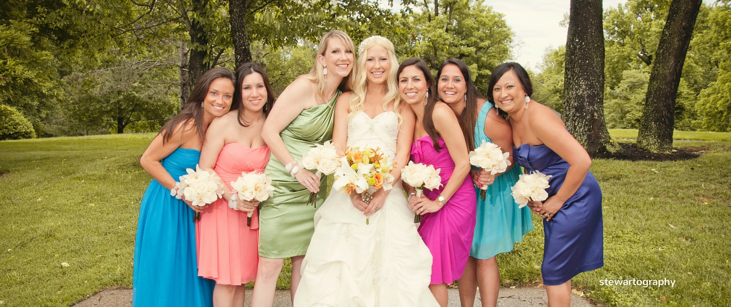 bridesmaids in their own dresses
