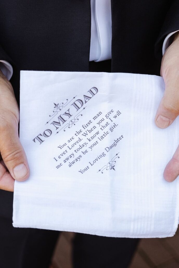 embroidered hankerchief to father of the bride as a gift