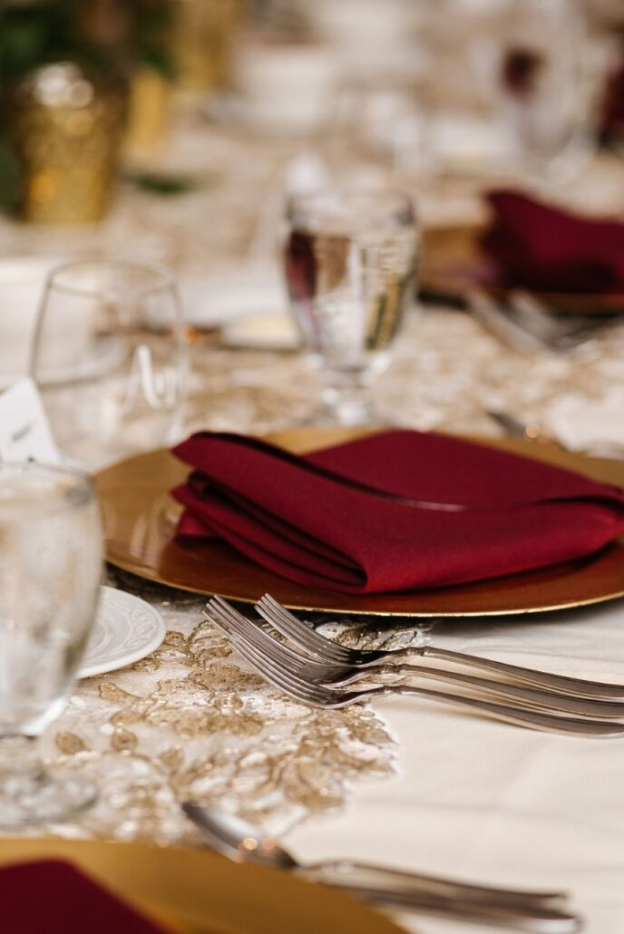 fancy napkin fold at evansville country club wedding