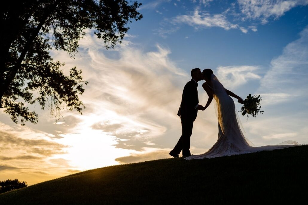 sunset photo of couple at evansville country club wedding