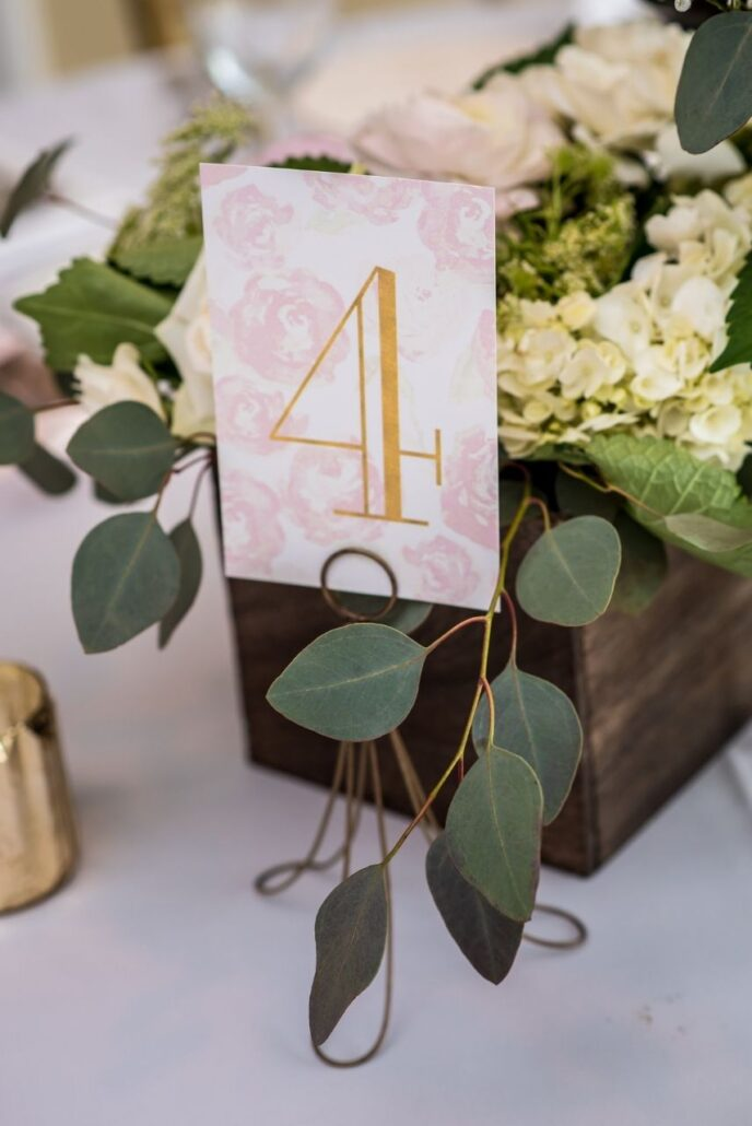 table numbers in blush and gold