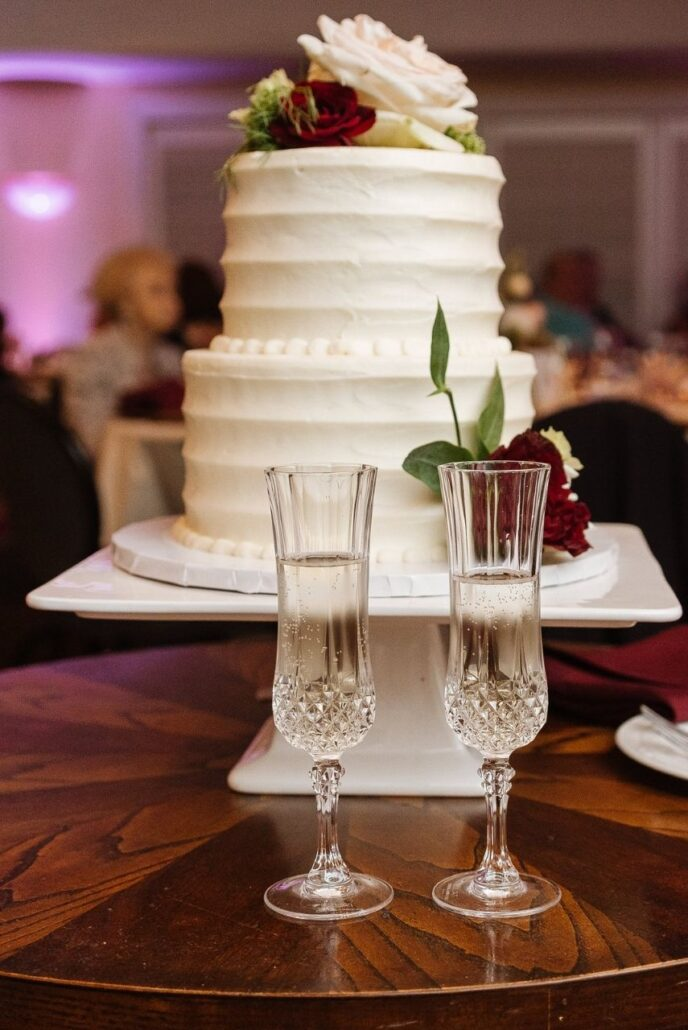 small two layer cake at evansville country club wedding
