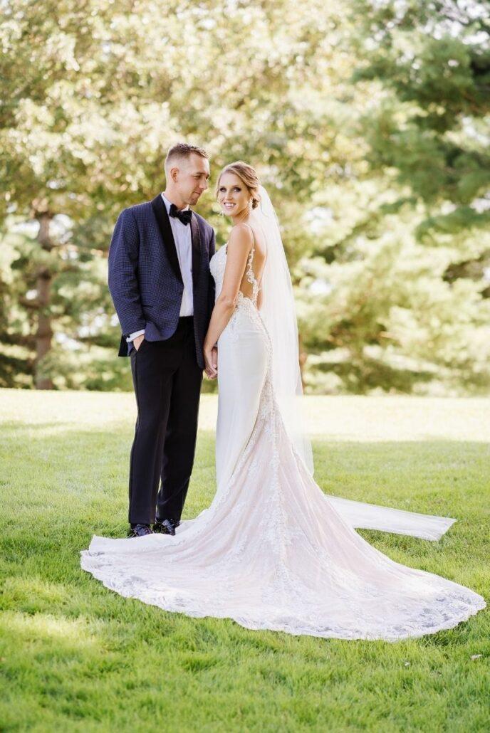 bride in ella park gown evansville country club wedding