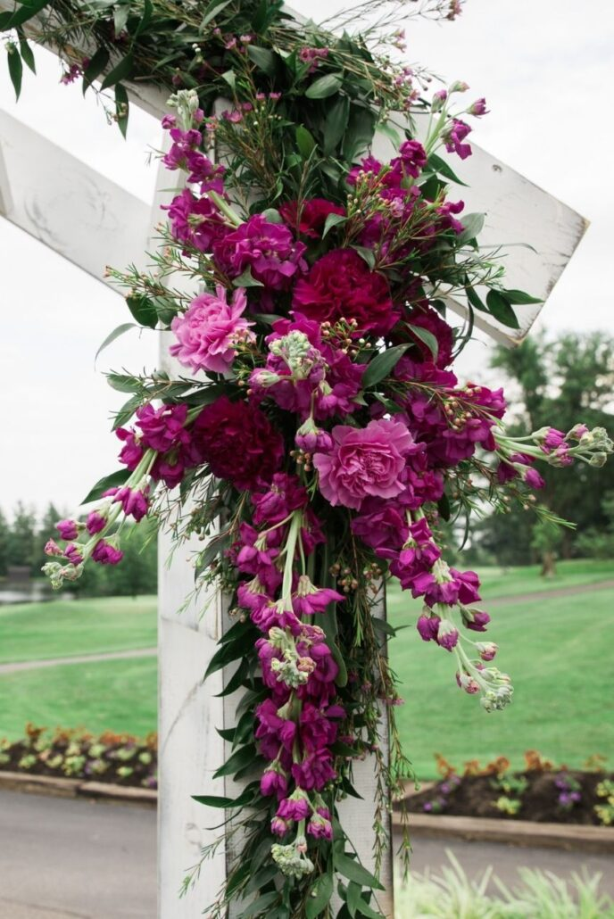 violet and purple wedding floral