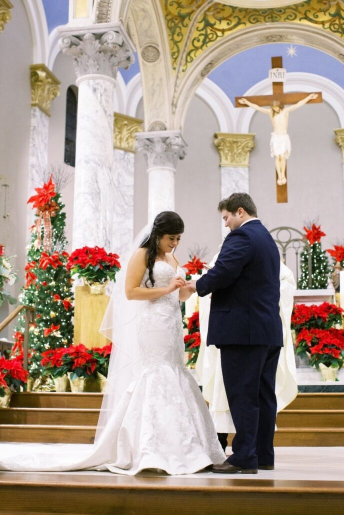 wedding ceremony during christmas at st benz evansville
