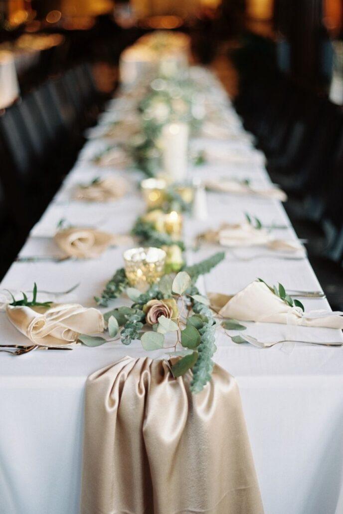 banquet wedding reception with a cream satin caps