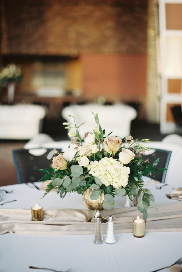 floral wedding centerpiece and white flowers