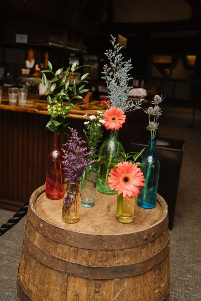 flowers on whisky barrel at weddings
