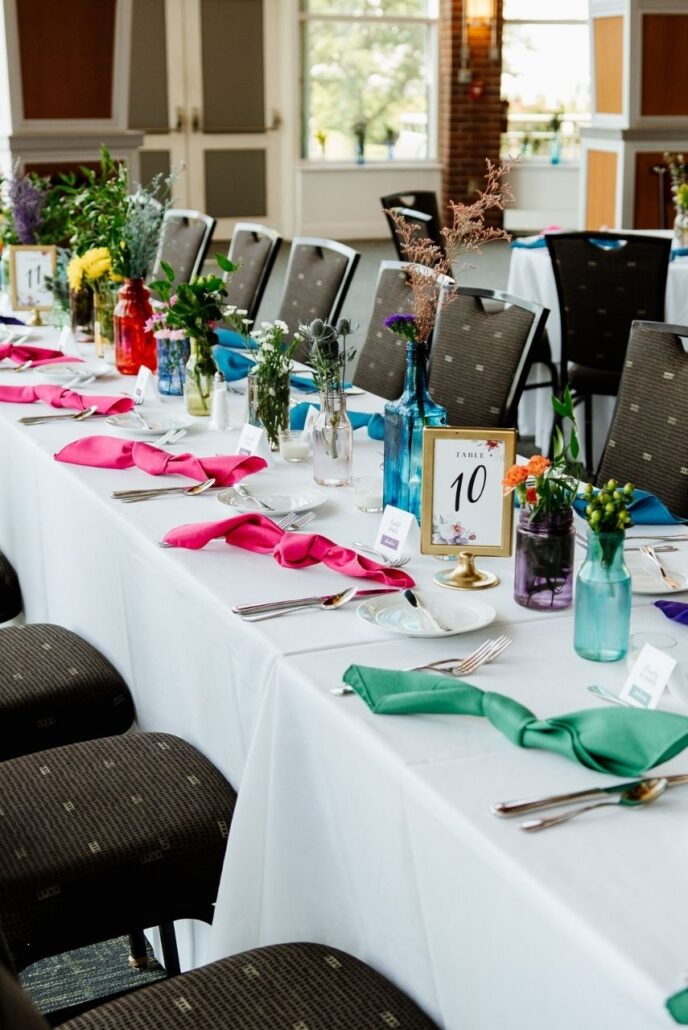 tied napkin folds at wedding reception