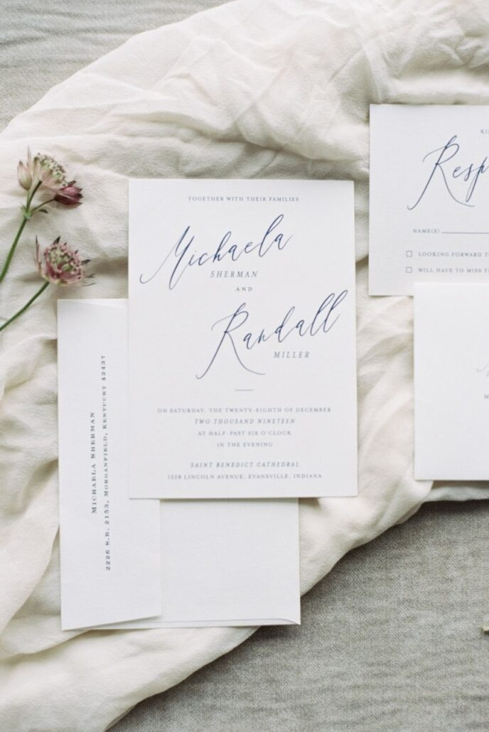 flat lay wedding stationery