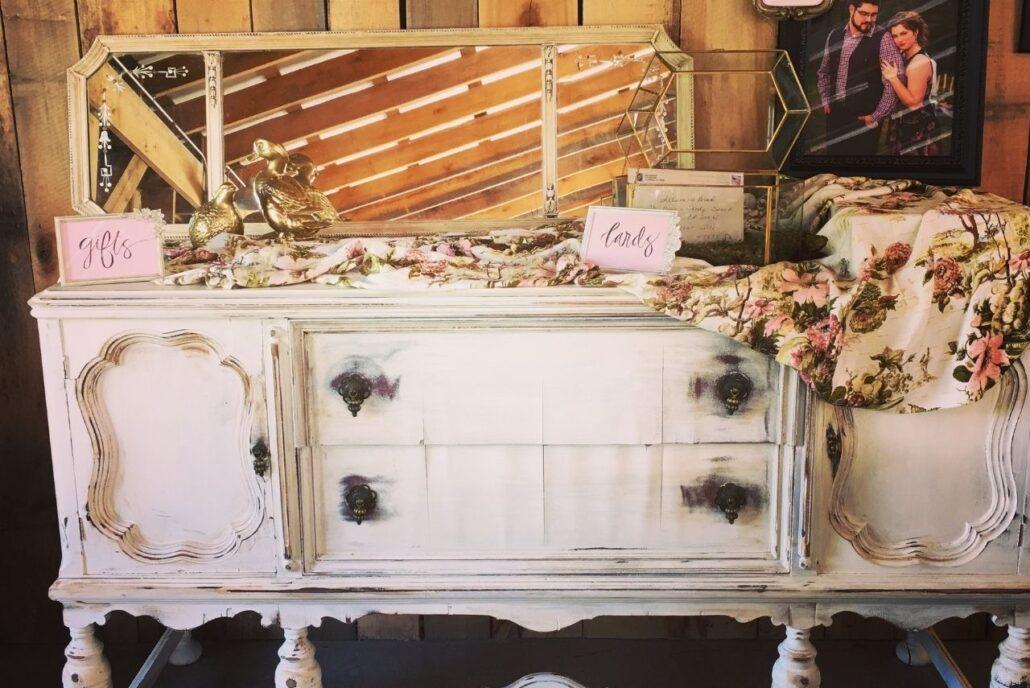 vintage bureau at wedding
